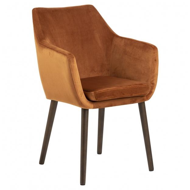 Drewniane Krzesło Do Jadalni Aros Miedziane Welur