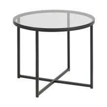 Szklany stolik kawowy Cross II 55 cm przezroczysty czarny