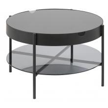 Okrągły stolik z tacą Tipton 75 cm dymiony industrialny