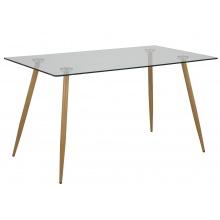 Szklany stół do jadalni Wilma 140x80 cm dąb nowoczesny