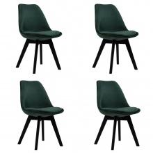 Zestaw 4 krzeseł  Esme zielony welur