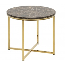 Stolik kawowy Alisma 50 cm marmur złoty