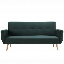 Sofa Cori zielona rozkładana trzyosobowa welur