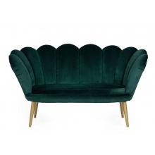 Sofa dwuosobowa muszelka Muse butelkowa zieleń welur złote nóżki