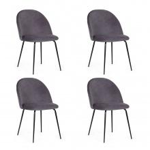Zestaw krzeseł do jadalni Malaga szary welur