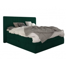 Łóżko kontynentalne Minola 160x200 cm butelkowa zieleń aksamit
