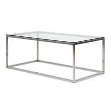 Szklana ława kawowa Lana 120 cm srebrna glamour