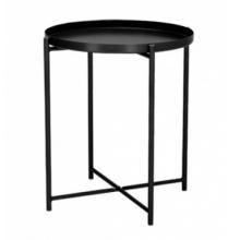 Okrągły stolik kawowy Mindi 44 cm czarny taca