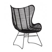 Unikatowy fotel handmade Munduk rattan czarny boho