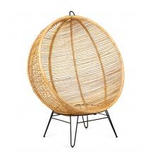 Okrągły fotel huśtawka handmade Sayan rattan naturalny boho