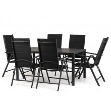 Zestaw ogrodowy stół + 6 krzeseł Dizu II czarny stół