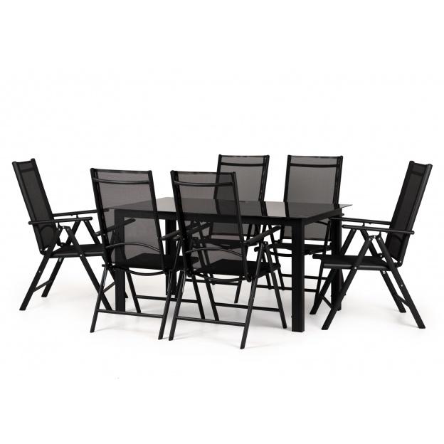 Zestaw ogrodowy stół + 6 krzeseł Dizu czarny szklany stół
