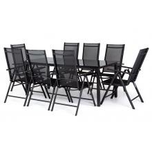 Zestaw ogrodowy stół + 8 krzeseł Dizu czarny szklany stół