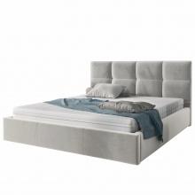 Łóżko tapicerowane Brayden ze stelażem i pojemnikiem, 160x200 cm szare welur