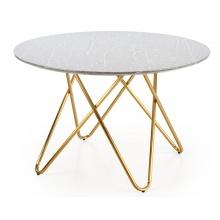 Okrągły stół Bonello 120 cm efekt marmuru złoty stelaż glamour