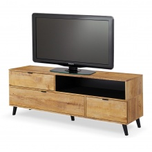 Szafka RTV z szufladami Nest 160 cm dąb lefkas/czarna