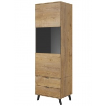 Przeszklona witryna z szufladami Nest 192 cm dąb lefkas/czarna