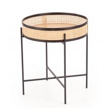 Okrągły stolik kawowy Lanipa 50 cm rattan naturalny boho