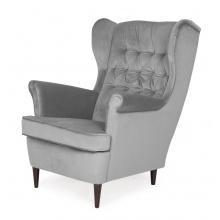 Fotel uszak Flick welurowy ciemnoszary nowoczesny