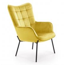 Fotel pikowany z podłokietnikami Castel welwet żółty czarne nóżki