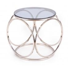 Szklana ława kawowa Venus S 50 cm srebrny dymione szkło glamour