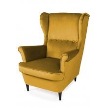 Fotel uszak wypoczynkowy Emil żółty welurowy nóżki wenge