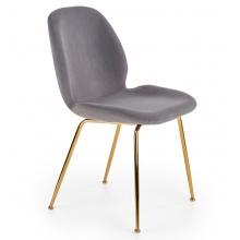 Krzesło welurowe do jadalni K381 popielate złote nóżki