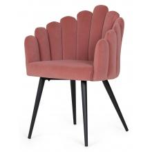 Krzesło welurowe Canis różowe/czarne nóżki
