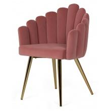 Krzesło welurowe Canis różowe/złote nóżki