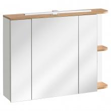 Szafka do łazienki z lustrem Platinum biel alpejska/dąb craft złoty