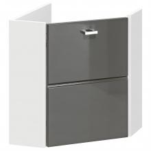 Narożna szafka łazienkowa pod umywalkę Finka biały/grafit