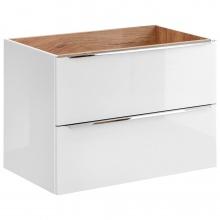 Szafka łazienkowa pod umywalkę Capri 80 cm biały połysk/dąb craft złoty