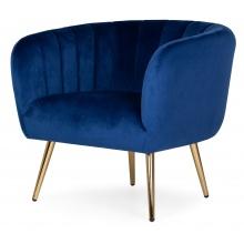 Fotel z przeszyciami Bismo welurowy granatowy/złote nóżki