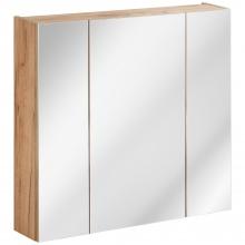Szafka do łazienki z lustrem Capri 80 cm dąb craft złoty