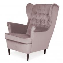 Fotel uszak Flick pudrowy róż welwet nowoczesny