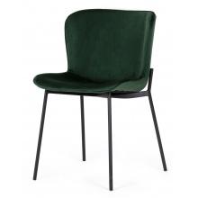 Krzesło welurowe do jadalni Sully butelkowa zieleń nowoczesne