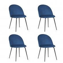 Zestaw krzeseł do jadalni Malaga granatowy welur