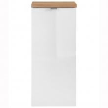 Szafka łazienkowa niska Capri z koszem na pranie biały połsyk/dąb craft złoty