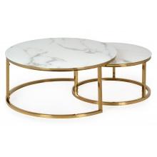 Zestaw szklanych stolików Lula efekt marmuru/złoto