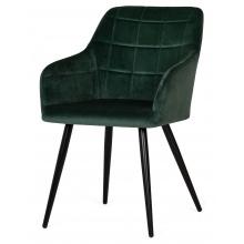 Krzesło z podłokietnikami Carlo butelkowa zieleń welwet