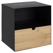 Szafka nocna Joliet czarna/bambus z szufladą