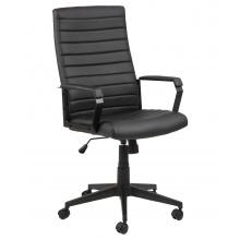 Regulowany fotel obrotowy Charles 114,5 cm czarny wygląd ekoskóry