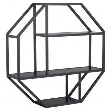 Regał na książki Seaford metalowy czarny/jesion oktagon