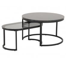 Zestaw stolików kawowych Spiro efekt marmuru/dymione szkło