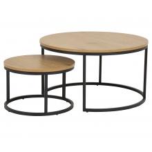Zestaw okrągłych stolików kawowych Spiro dziki dąb/czarne
