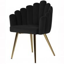 Krzesło welurowe Canis muszelka czarne/złote nóżki