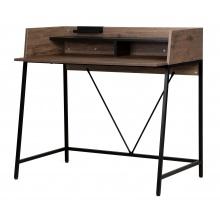 Małe biurko z nadstawką Linato 103 cm orzech/czarne