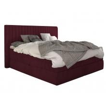 Łóżko kontynentalne Minola 160x200 cm bordowe aksamit
