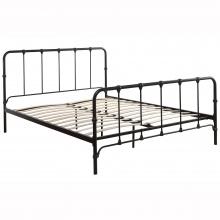 Łóżko metalowe ze stelażem Bargas 140x200 cm czarne