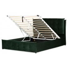 Łóżko z pojemnikiem Puna 160x200 ciemnozielone welur